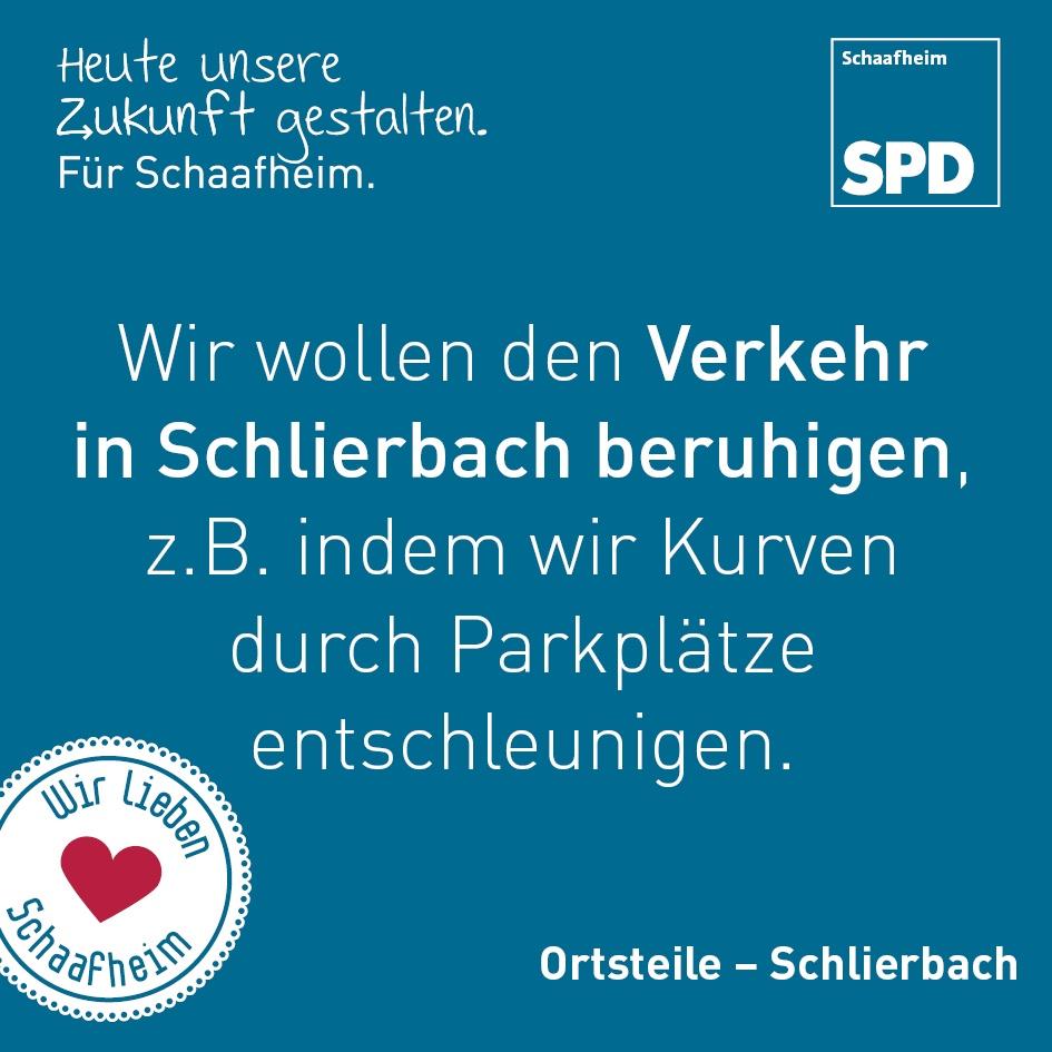 Wir wollen den Verkehr in Schlierbach beruhigen, z.B. indem wir Kurven durch Parkplätze entschleunigen.